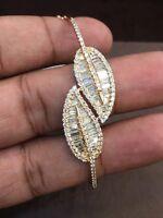 Pave 2.11 Carats Round Baguette Cut Natural Diamonds Bangle Bracelet In 14K Gold