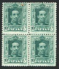 ESPAÑA 1922 - EDIFIL 314** - BLOQUE DE 4 - ALFONSO XIII - TIPO VAQUERO - MNH