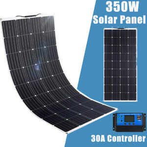 12V 350W Flexible Solar Panel Mono Kit ETFE 30A Regulator Camping Battery Charge
