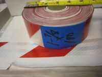 """WHITE RED Reflective Diagonal Stripe  Conspicuity Tape 1-7//8/"""" x 25/'"""