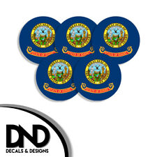 Idaho State Flag ID Circle Sticker USA Helmet Decal 5 Pack 2.5in