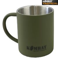 ARMY GREEN STAINLESS STEEL MUG 250ML THERMAL INSULATION HIKING CADET CAMP