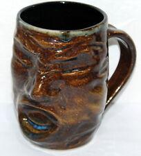 Handmade & Crafted Pottery Horror Creepy Face Tiki Style Coffee Mug 1 of a Kind