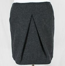 CAbi Charcoal Gray Skirt Sz 6 Wool Blend Andy's Modern Mini #629 Inverted Pleat