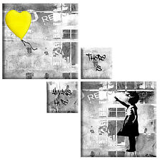 BANKSY YELLOW GREY CANVAS GIRL WITH BALLOON  4 PANEL SQUARE MULTI PICTURE 104cm