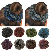 Women Girl Velvet Elastic Flower Hair Scrunchie Ponytail Holder Hair Ties Rope