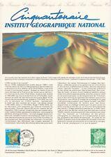 Document Philatélique A4 Musée Poste 1990 INSTITUT GEOGRAPHIQUE NATIONAL IGN