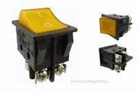 Einbau Wippschalter mit schraubkontakten, 2 polig (4pin) 16A 250~ grün beleucht.