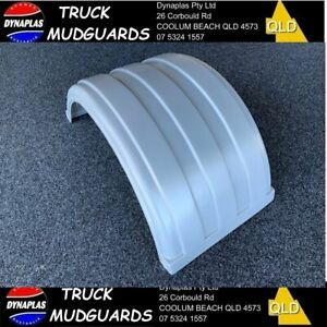 SILVER LOW PROFILE B DOUBLE TRUCK SEMI TRAILER MUDGUARDS 19.5 INCH POLY NEW