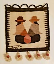 Vintage Jose Cotacachi 100% Wool Weaving Tapestry Wall Hanging Made in Ecuador