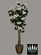 Artificial 6' Magnolia Tree Plant Basket Arrangement Topiary Christmas Lights
