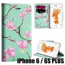 iPhone 6+ / 6S+ Plus - MINT GREEN CHERRY BLOSSOM Card ID Wallet Diary Pouch Case