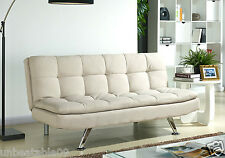 Fabric Sofa Bed 3 Seater Padded Sofabed Chrome Legs Cube Design Various Colours Cream