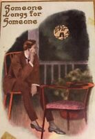 Postcard, Someone Longs For Someone, Lovebirds, Gold, Moon, Vintage P16