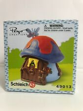 SCHLEICH BLUE & RED COTTAGE SMURF HOUSE 49013 PEYO CREATIONS MUSHROOM HOUSE FF9