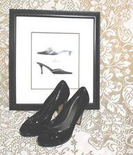 """White House Black Market Black Patent Suede Peep Toes 4"""" Pumps Shoes Size 10M"""