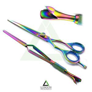 Hairdressing Scissors & Titanium Nail Pinching Pusher Multi Function Tweezers