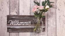 Shabby Wanddeko Türdeko mit Engel & Vase ♥ Willkommen ♥ Einzelstück ♥ HANDARBEIT