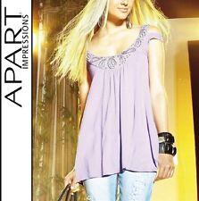 NEU BABYDOLL SHIRT A-LINIE zauberhaft  BESTICKT VISCOSE 32 APART lila *392007