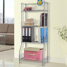 4-Tier Bookshelf Bookcase Rack Storage Display Shelving Unit Metal Furniture UK