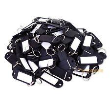 (Lot of 100) Key ID Tags Labels Keychain Split Key Ring Name Tag Black USA Ship