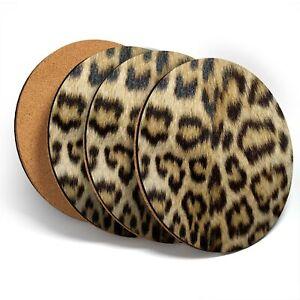 4 x Coasters  - Wild Animal Print Leopard Cat Fur  #46431
