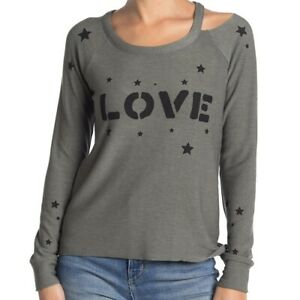Chaser Sweatshirt Sz S Women's Love Stars Cozy Knit Vented Cutout Pullover NWT