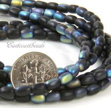Rice Beads, 6X4mm, Jet Black w/Matte AB Finish, Czech Glass Beads, 50 Pieces
