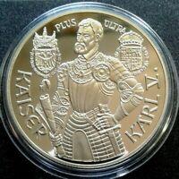 Österreich 100 Schilling 1991, Silberabzug, Kaiser Karl V, Originalzertifikat