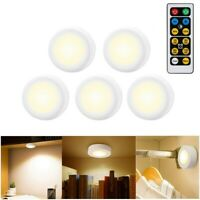5 Packs Wireless Dimmable LED Puck Light Closet Under Cabinet Lighting w/ Remote