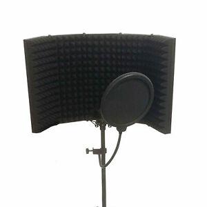 Mikrofon Filter Absorber Isolation Shield Isolierung Schallwand + Stativ Ständer