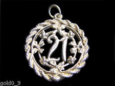 21st Birthday Charm Sterling silver 925 charmmakers 3D