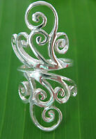 REAL 925 sterling silver LONG solid FILIGREE thick Women Ring Size J M P Q T V X