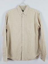 J. CREW Slim 100% cotton button front long sleeved beige and white shirt size M
