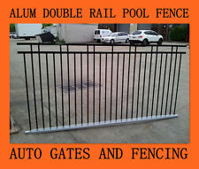 Aluminium Pool /Garden Fence Panel - Black DOUBLE RAIL Front Fencing