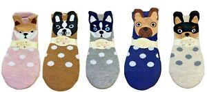 New Women's Cute Animal Pug Frenchie Boston Terrier Cotton Rich Trainer Socks