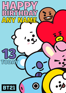 BT21 Personalised Birthday Card, BTS Personalized Card, BTS, ANY AGE