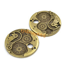 2 Pcs Alloy Bronze Steampunk Round Wheel Gears Clock Charms 38mm Vintage Retro
