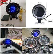 12V/24V Round Blue Led LCD Car Voltmeter Water Temp Gauge Volt Meter w/Sensor