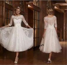 Short Tea Length Lace Wedding Dress White/Ivory Beach Bridal Gown Size 2 4 6 8 +