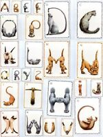 Postcard Cat Kitten Alphabet Letters A - Z Name Surname Initials Card Xmas Gift