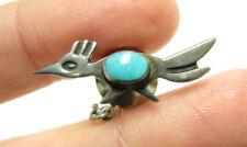 Vintage Navajo Turquoise Roadrunner Sterling Silver Pin Tie Tack
