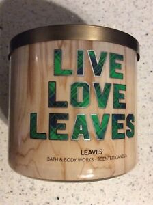 Bath And Body Works Leaves 3 Wick Candle New Live Love Leaves