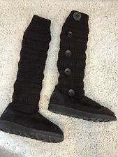 Muk Luks Miranda Women's Knit Button Boots Cold Weather Brown Size 9