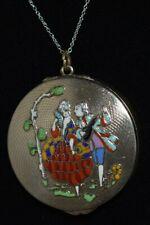 New listing Fabulous Antique Art Deco Silver & Enamel Sweetheart Compact Necklace R*A*R*E*