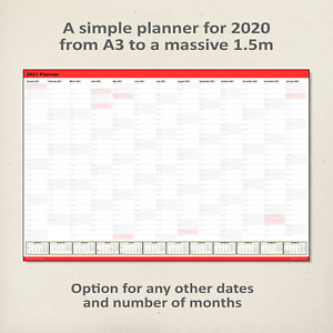 Simple 2020 Wall Planner / Calendar RED - choice of 5 sizes, ship folded/rolled