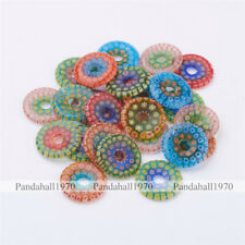10 Pcs Flat Round Handmade Millefiori Lampwork Glass Beads Mixed Color 24x3mm