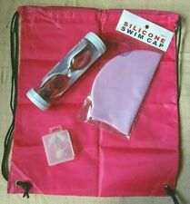 Swimming Set 5 Piece Cap Ear Plugs Nose Clip Goggles Bag Set Waterproof New