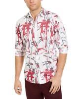 Inc Men's Collared Long Sleeve Graffiti Heart Button-up Shirt (White, L)