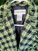 Carlucci Blazer Trimmed with Fringe   Green & Black Tweed SIZE 6 EXC